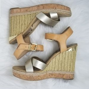 Sam Edelman Clay Wedge Platform Sandal Gold